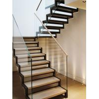 Quality Stainless steel straight solid wood staircase with glass balustrade for sale