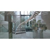 Quality Prefab metal stringer frame glass railing arc curved staircase for sale
