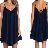 China Newest Design Women Wholesale Sexy Spaghetti Strap Pure Color Flare Off Shoulder Casual Dress on sale