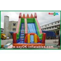 Quality Safety PVC Tarpaulin Inflatable Bouncer Slide Yellow / Green Color For Playing for sale