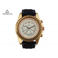 Quality Multifunction Mens Leather Strap Watches , Quartz Black And Gold Watch Customizable for sale
