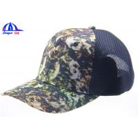Quality Youth Trucker Mesh Camo Baseball Caps With Velcro Back Closure , Camouflage Baseball Hats for sale