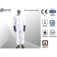 Quality PE Laminated PPE Safety Wear , Chemical Resistant Coveralls With SMS Back Panel for sale