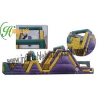 Quality Outdoor Adventure Inflatables Obstacle Course With Bouncy Slide , interactive inflatables for sale