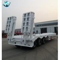 China High quality 3 axle lowbed lowboy semi trailer with double hydraulic folding ladder on sale