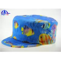 Quality Windproof Breathable Military Hat / Fitted Army Baseball Caps Blue with Fish Pattern for sale