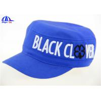 Quality Blue Cotton Canvas Woven Military Baseball Caps  With 3D Embroidery Logo for sale