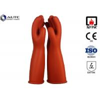 Quality Rubber Insulating Electrical Safety Gloves Voltage Rating AC 7500 V Class 1 for sale