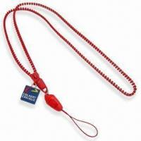 Quality 0.5cm Diameter Red Zipper Lanyard, Made of Plastic, Available in Various Colors and Strands for sale