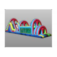 Quality 0.5mm PVC Tarpaulin Inflatable Obstacle Course Tunnel Game Double Slide for sale
