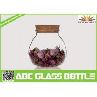 Quality High quality fat clear glass storage jar with cork for sale