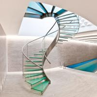 Quality Interior glass spiral staircase with inox steel rod railing design for sale