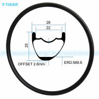 Quality 7-tiger carbon mountain bicycle wheel rim 29 er asymmetric offset XC bike 25x28 mm Tubeless Compatible for sale