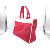 Buy Red Canvas Travel Tote Bags Slides Over Luggage Handle Customized Logo at wholesale prices