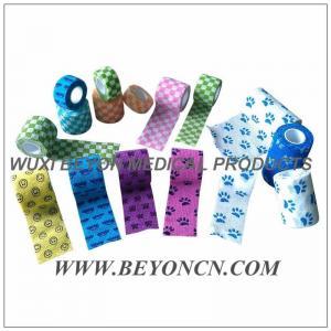 Quality Printed Cohesive Flexible Bandage Bitter Taste Vet Wrap, Flexible Fabric Bandages for sale