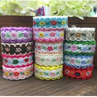 reative Webbing Roll Sewing Supplies Cotton Webbing With Lace 22yards/lot Floral Lace webbing Roll for sale
