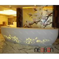 Quality Upscale White SPA Reception Desk with LED curved flowers pattern for sale