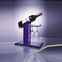 Quality Eco-Friendly Acrylic Wine Display Holder For 1 Bottle , 2 Glasses for sale