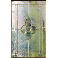 "Quality inlaid glass with clear tempered glass of brass caming 1""thickness for sale"