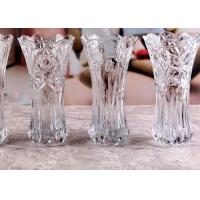 Quality Stock Flower Decorative Glass Vases / Transparent Small Coloured Glass Vases for sale
