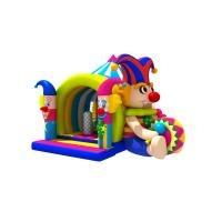 Quality Lovely Circus Clown Kids Inflatable Bounce House With Slide / Blow Up Jumpers for sale