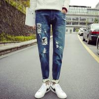 Quality Printed Flowers Womens Slim Straight Leg Jeans Middle Rise Stone Washed for sale