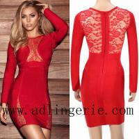 Buy cheap RED LACE LONGSLEEVE BANDAGE DRESS D4075 from wholesalers
