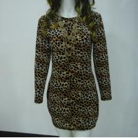 Quality Stretchy Leopard Print Club Dress , Long Sleeve Velvet Bodycon Dress V Back for sale