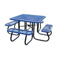 Quality Stainless Steel Picnic Table Metal Outdoor Furniture , Heavy Duty Garden Bench Table for sale