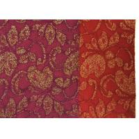 Buy Red Golden Embroidery Sequin Lingerie Lace Fabric For Wedding Dress , Decoration Lace Fabric at wholesale prices