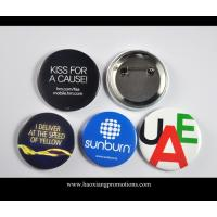 Quality Custom Full Color Printed Logo Clear Lamination Round Tin Button Badge for sale