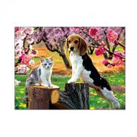 Quality Lovely Cats And Dogs 3D Lenticular Pictures Printing Customized Size for sale