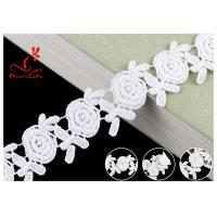 Embroidered Flower Guipure White Cotton Lace Ribbon For Fashion Clothes for sale