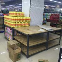 China 3- Tier Folding Metal Tube Wooden Retail Display Shelves Powder Coated on sale