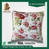 Quality Home Decorative Pink Flower Printed PP Cotton / Foam Sofa Cushions Replacement for sale
