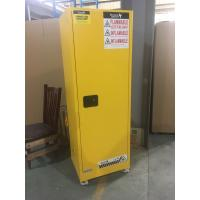 Quality Yellow Industrial Safety Cabinets , Flame Proof Storage Cabinets With Double Lock with wheel for sale