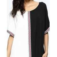 Buy Black And White Bohemian Formal Dresses , Straight Cut Maxi Dress Embroidered Tapes at wholesale prices