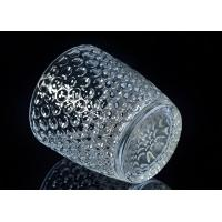 Buy cheap Embossed Nail Design Glass Candle Holder Christmas Deco Glass Candle Jars from wholesalers