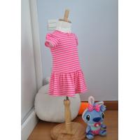 Quality Bow Neck  Girls Pink And White Striped Dress , Young Girls Party Dresses Elastic Waist for sale