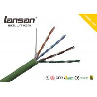 Quality LSZH Jacket CAT5E UTP 24AWG Bare Copper Conductor Green Color for sale