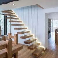 Buy cheap High quality wood stairs glass railing floating straight staircase from wholesalers