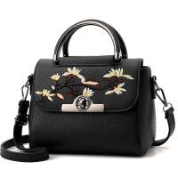 Quality Embroidered PU Women Leather Messenger Bag ,Hand Totes  Ladies Shoulder Bag With Zipper Hide Porket for sale