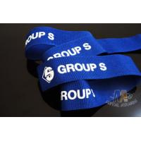 Quality Custom Blue Ribbon With White Printing  Woven Medal Ribbons Medal Lanyards For Events for sale