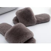 China Light Grey Lambswool Fluffy Flip Flop Slippers , Women'S Backless Sheepskin Slippers on sale