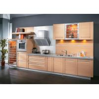 Quality Modern Style Maple Color Pvc Kitchen Cabinets Simple 1 Shape With Grey Quartz Stone for sale