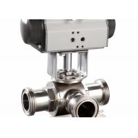 4 Sanitary 3 Way Ball Valve , T - Port Tri - Clamp Pneumatic Ball Valve for sale