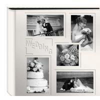 "Quality Collage Frame Embossed ""Wedding"" Sewn Leatherette Cover Photo Album, Ivory for sale"