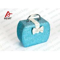 Quality Customized Blue Glitter Organized Makeup Case With White Bow for sale