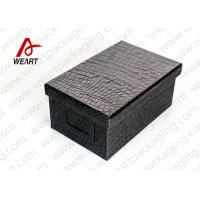 Quality Black Leather Coated  Branded Products Cardboard Gift Boxes With Lids OEM for sale
