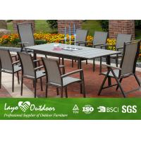 Quality Wooden Extendable Dining Table Set Outside Garden Furniture Powder Coated Frame for sale